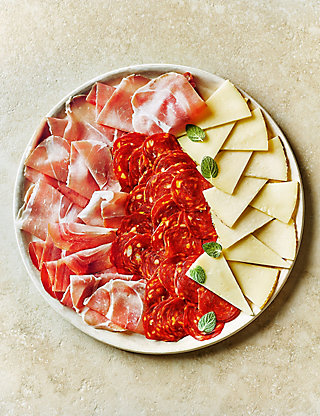 Spanish platter - Manchego cheese, Pampalona salami and Jamon Serrano.