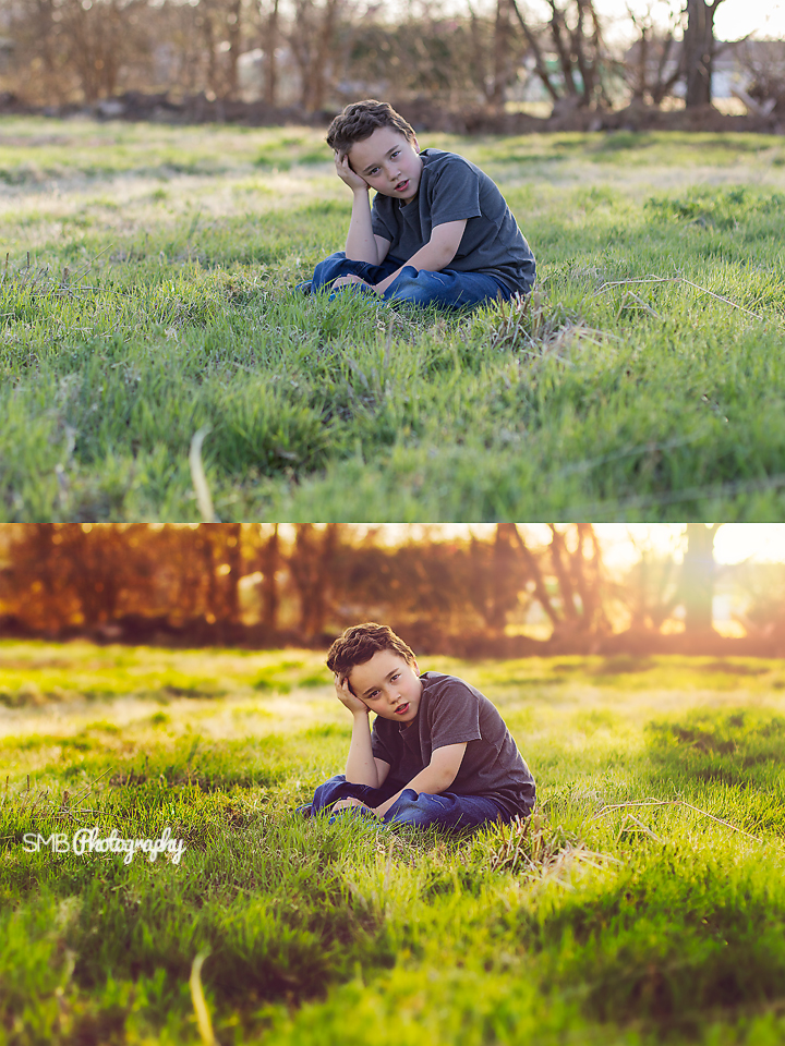 Boy sitting in grass (Before and After Editing) {SMB Photography}