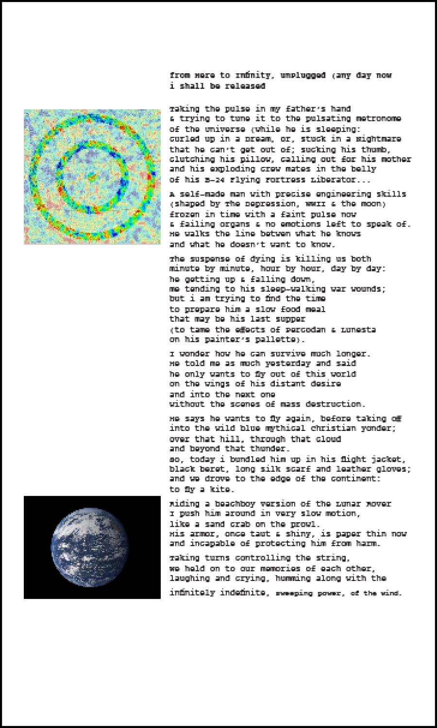 from Here to Infinity (poem, with pulsating universe and earth photographs