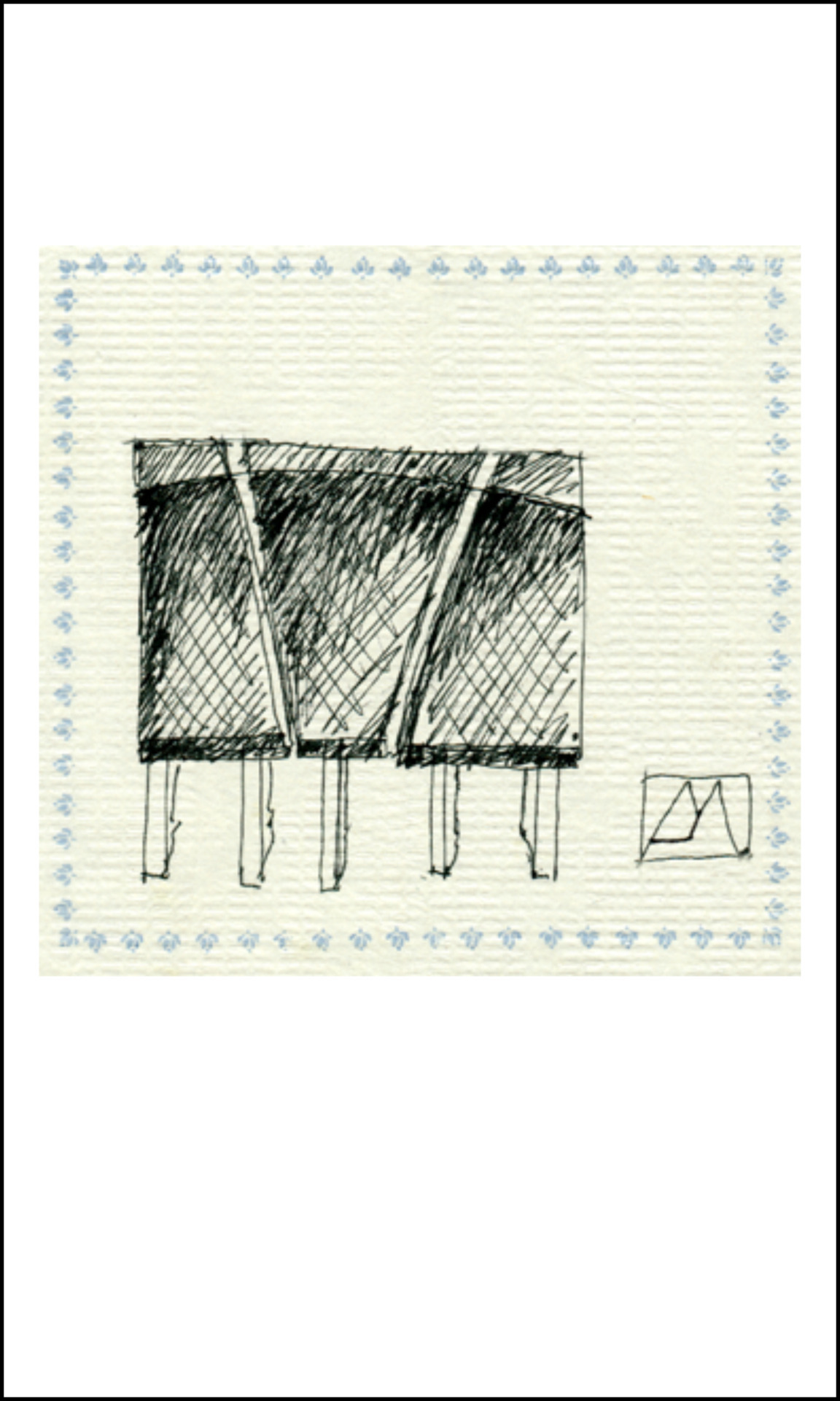 trapezum tip-toe sectional tables (pen drawing on cocktail napkin