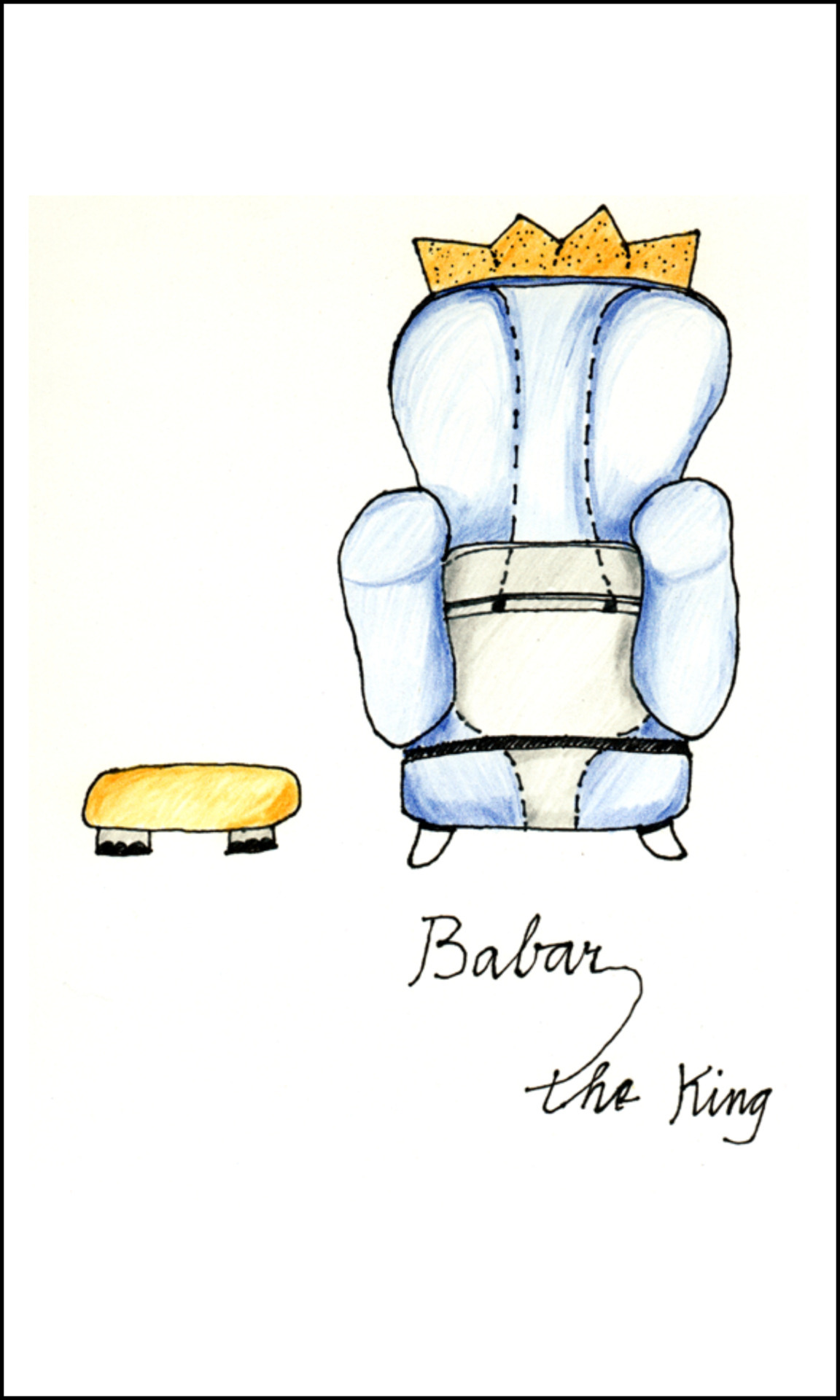 Babar the King: stuffed just so chair and foot rest (pen & pencil drawing