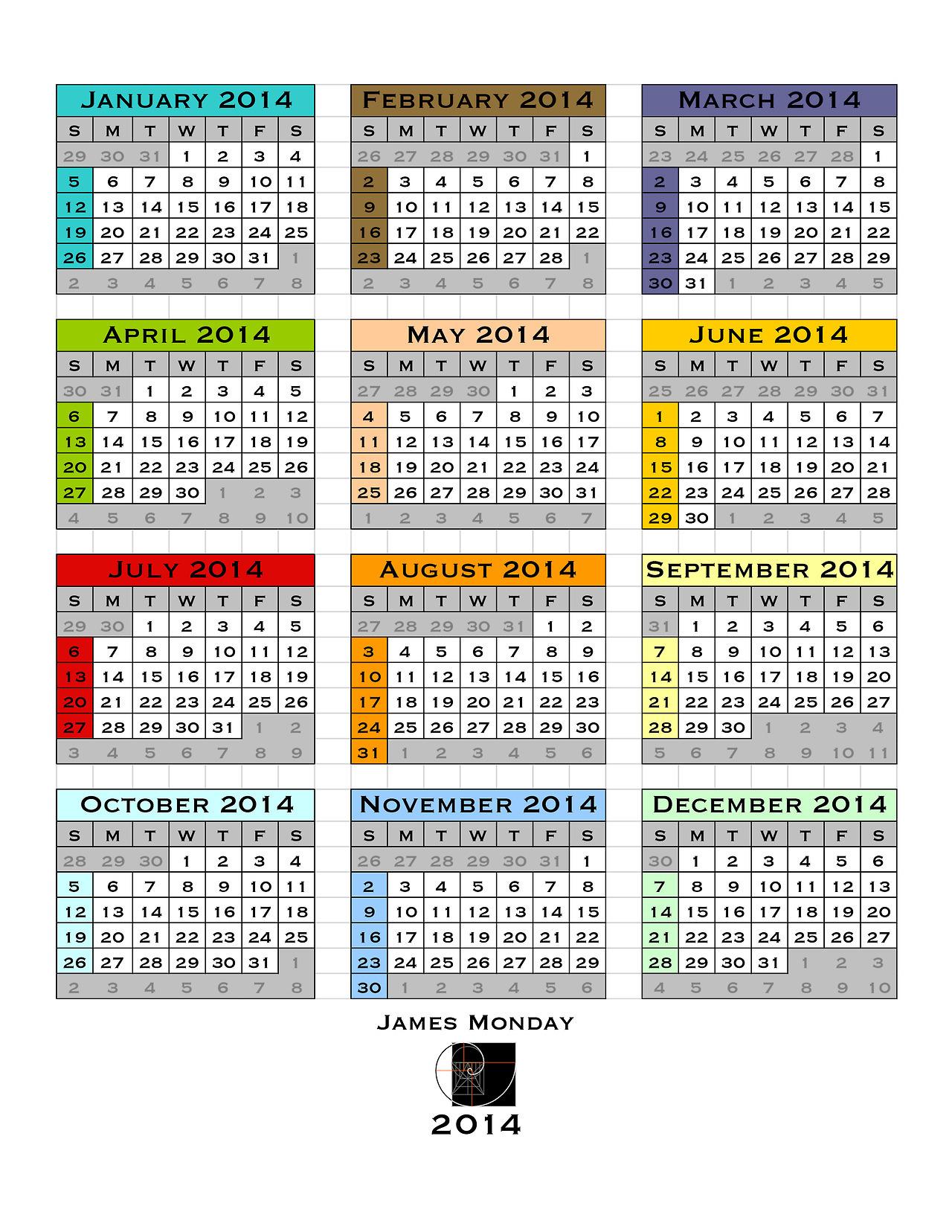 2014 Calendar Back Cover