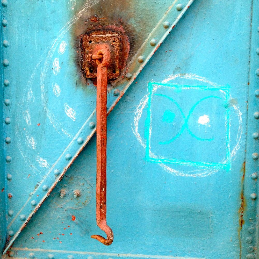 Iron Hook, Blue Door (with Chalk, Jacmel, Haiti