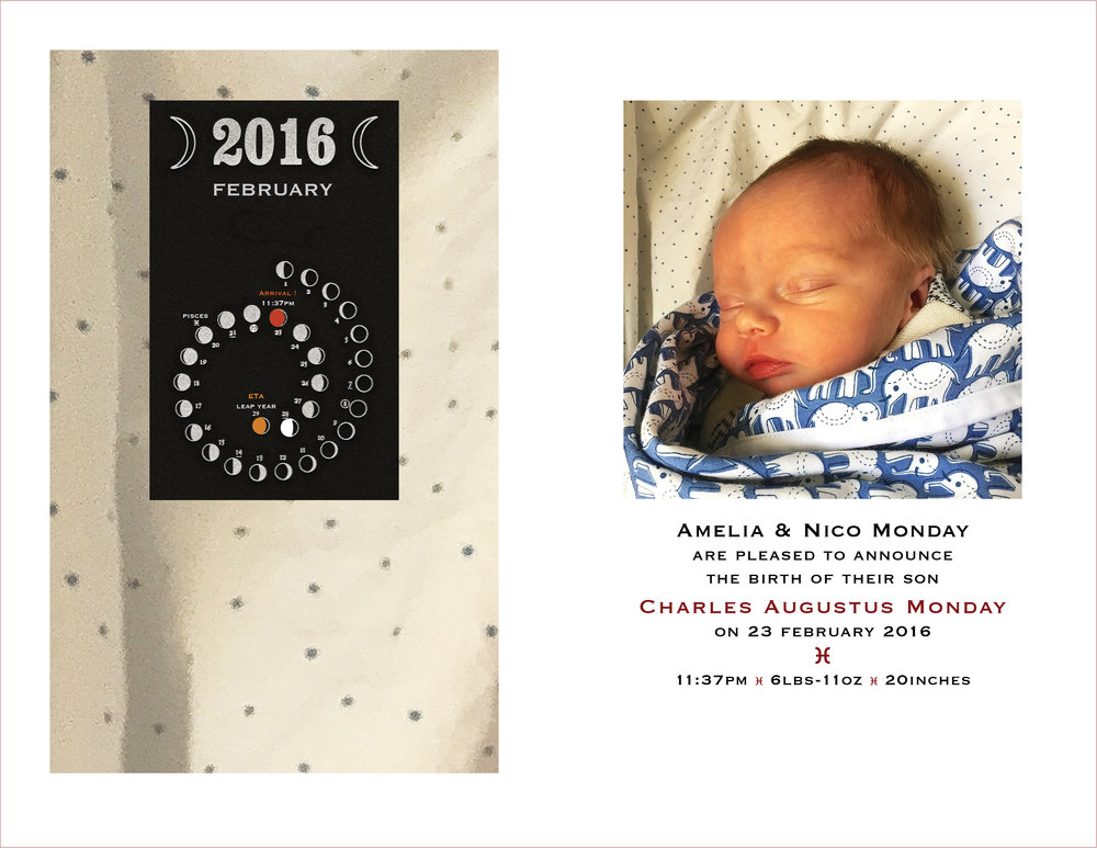 Birth Announcement  : Chas. Augustus Monday