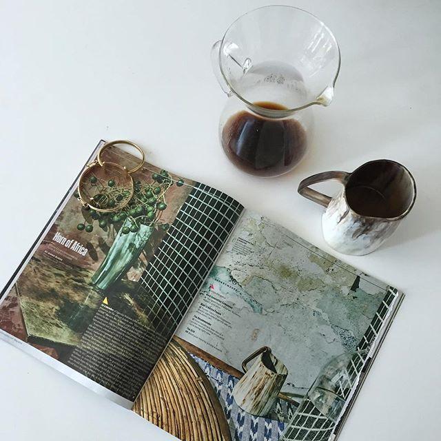 Morning coffee and @fastcompany  Mugs manufactured by @oliviaknoxmfg for @the_citizenry, vases available at @indego_africa  Jewelry via @ziyakenya and Giraffe Manor, Kenya  #whyilovekenya #wanderlust #wonderlust