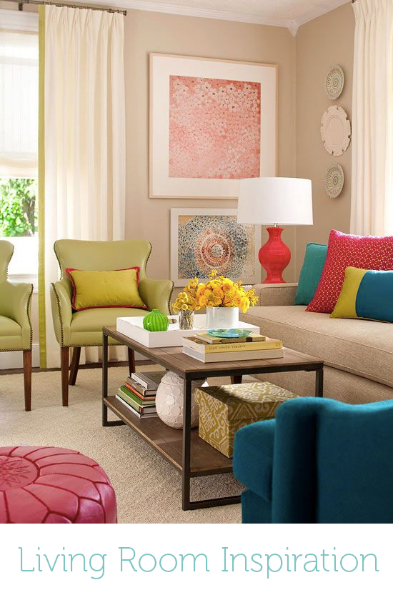 Sami and Anisa loved the bright pops of color in this space, but they didn't love all the beige and cream, especially since they already had a grey couch they liked.