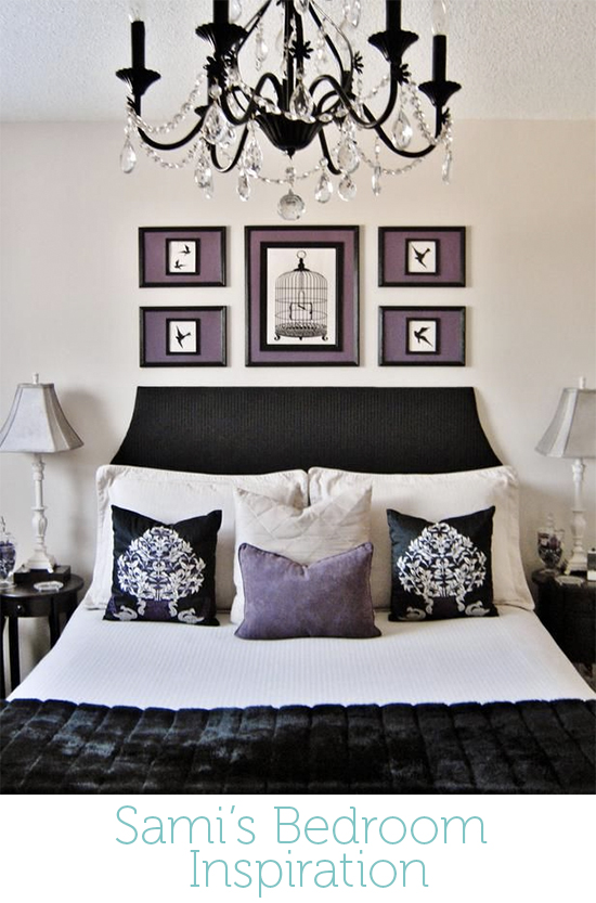 Sami knew she liked purple and she liked symmetry. She didn't love the white in the bedding shown here and she wanted to up the plum and lilac hues in the space.