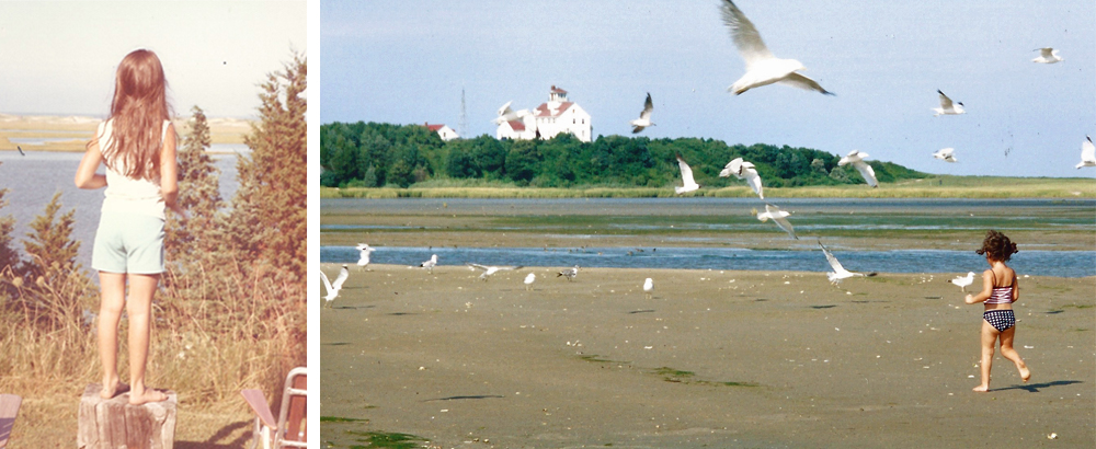 Gazing out towards Coast Guard Beach (@1971) at where my daughter Bevin is running (@2002)