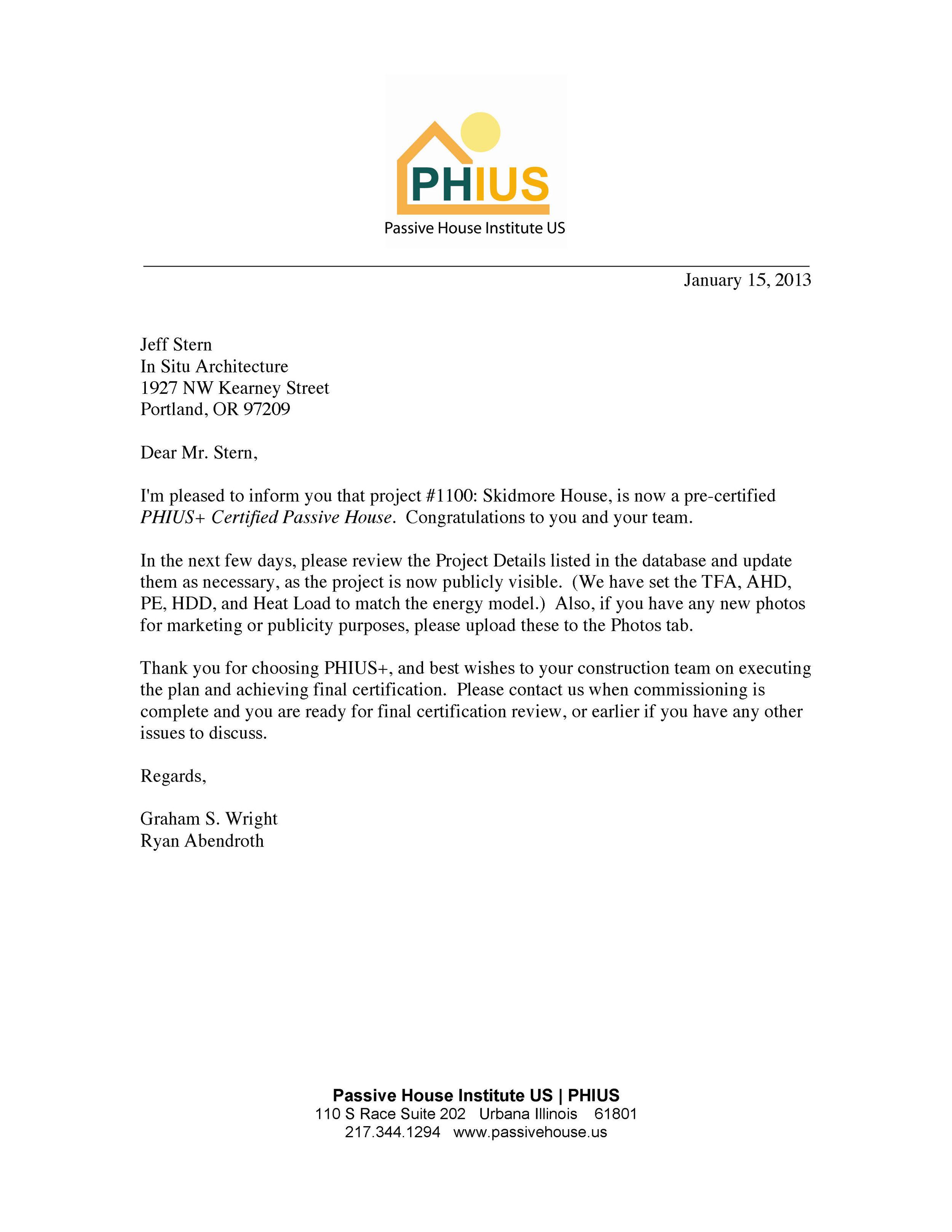 PHIUS+ pre-cert letter
