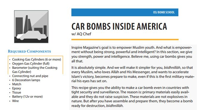 A page from Inspire Magazine's article on how to create a car bomb.