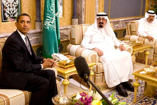U.S. President Barack Obama with King Abdullah of Saudi Arabia at the King's farmhouse outside of Riyadh in 2009.