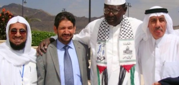 Malik Obama, second from right, expressing support for Hamas at 2010 conference in Yemen.
