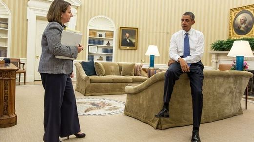 President Barack Obama receives a briefing From Lisa Monaco, Assistant to the President for Homeland Security and Counterterrorism.