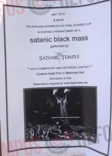 Flyer advertising the Satanic Black Mass at the Queen's Head Pub at Harvard University. (Photo: Campus Reform.org)