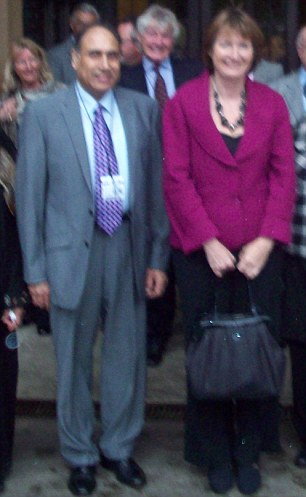 Zafar Iqbal (far left), pictured with Harriet Harman (right), has been found guilty of 25 counts of historic sex abuse against three women in the 1970s and 1980s