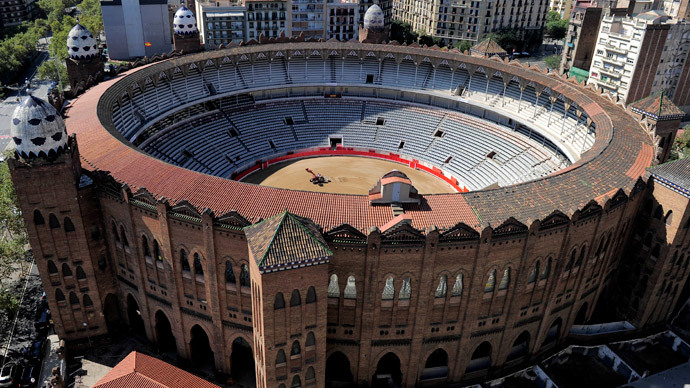 A general view of the 'La Monumental' bullfighting arena in Barcelona (AFP Photo / Josep Lago)