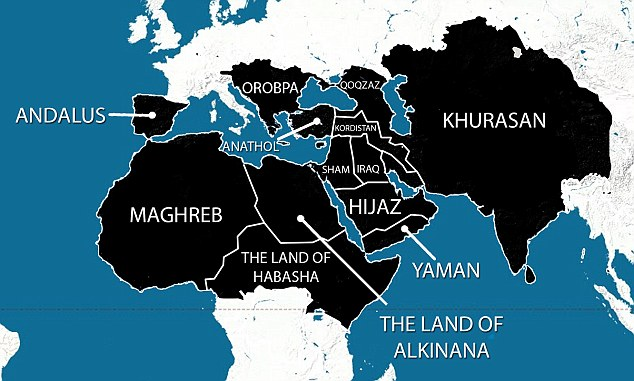 Caliphate: A map purportedly showing the areas ISIS plans to have under its control within five years has been widely shared online. As well as the Middle East, North Africa and large areas of Asia, it also reveals ISIS' ambition to extend into Europe. Spain, which was Muslim-ruled until the late 15th Century, would form part of the caliphate, as would the Balkan states and eastern Europe, up to and including Austria.