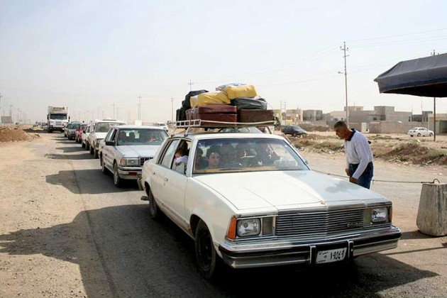 A checkpoint in Qaraqosh, Iraq
