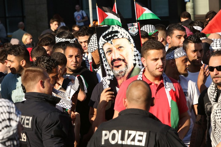 People demonstrate during a protest in Berlin against Israeli military action in GazaGetty