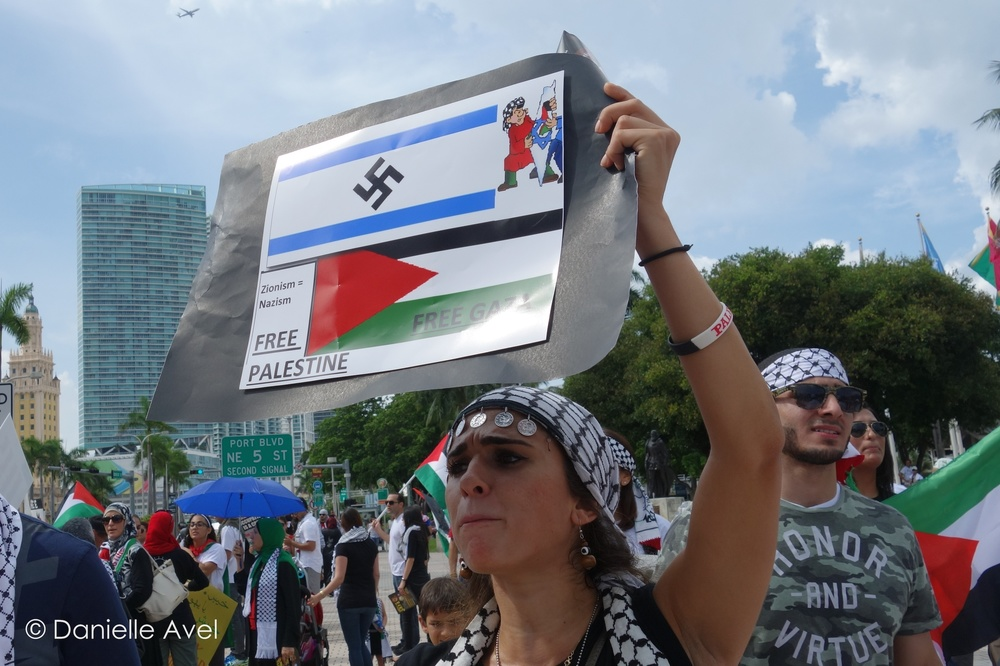 """Photo of protest information card obtained at the Miami protest on July 20, 2014.Note, """"Burning flags will not be allowed.""""Photo credit: Danielle Avel"""