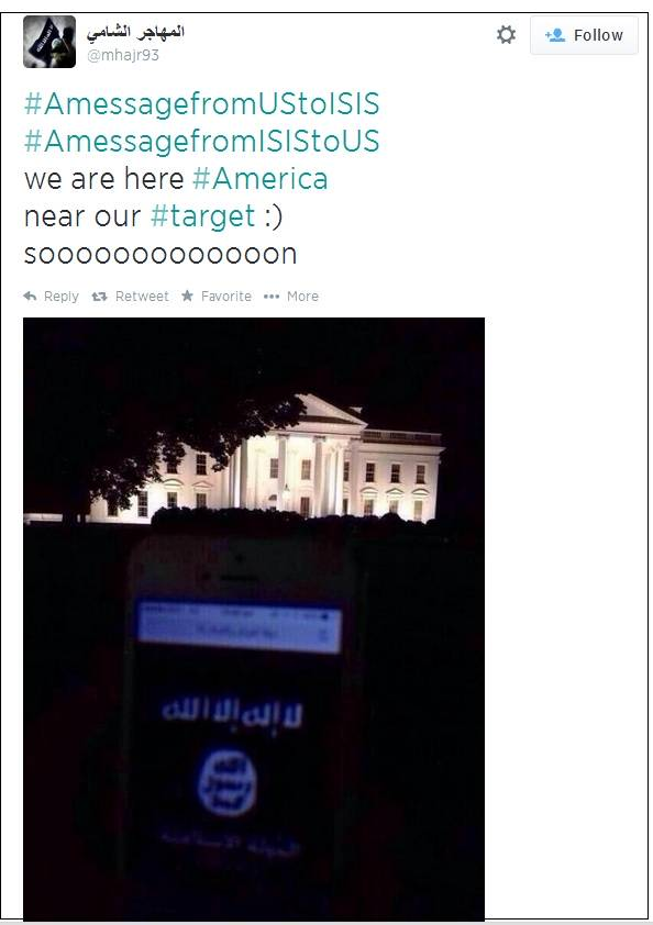 A photo posted to Twitter on Saturday by a supporter of the terrorist group the Islamic State (aka ISIS or ISIL) shows a cellphone screen with a large image of the black flag of jihad being held up so the White House is seen in the background. The Twitter account @mhajr93 posted the image.