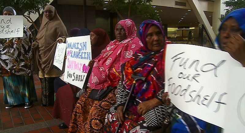 Somali Muslim immigrants protest to demand that the city of Minneapolis increase the funding for their free halal food bank.