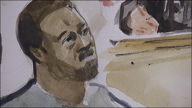 Courtroom sketch of Jaleel Tarik Abdul-Jabbaar.