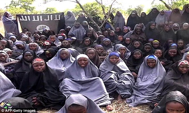 Kidnapped: Boko Haram abducted more than 200 schoolgirls, pictured, from a Nigerian school in April 2014.