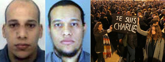 SEVERAL PEOPLE have been detained during the manhunt for the two prime suspects — Cherif Kouachi, left, and Said Kouachi, right, in the Islamist terror attack on Charlie Hebdo magazine that killed 12 people, and a third suspect has turned himself into police, as demonstrators gather across France holding banners that read 'I am Charlie' to show support for the publication.