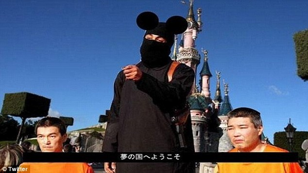 Dark comedy: In another post, Jihadi John is dressed up as Mickey Mouse while the background is changed to make them appear as if they are in Disneyland.