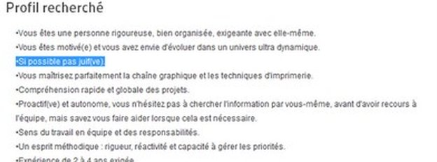 The job advert highlighted by French magazine L'Express