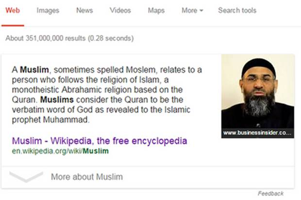 Google mishap: the results bring up an image of radical preacher Anjem Choudary.