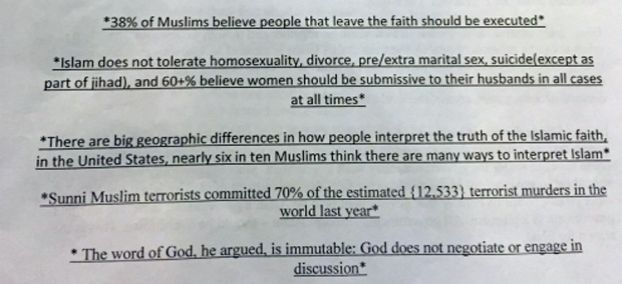 The above image is taken from a brochure allegedly distributed by a teacher at Richmond's Foster High School to members of a senior economics class. A Houston Muslim advocacy group has demanded the disciplining of a Richmond high school teacher responsible.