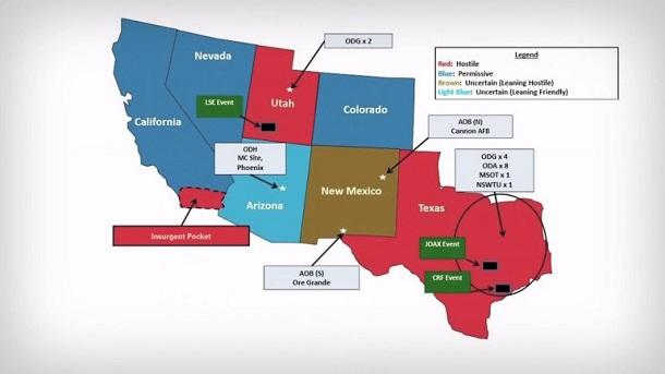 """Jade Helm map showing Texas, Utah and part of California as """"hostile"""""""