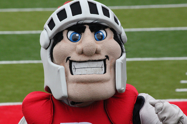 The blue eyes and light skin of the Scarlet Knight at Rutgers University offends some students.