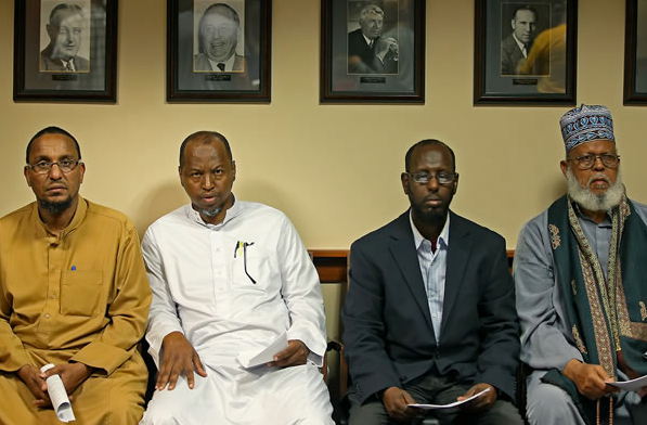 Somali refugees at a city-council meeting in Minneapolis, Minnesota.