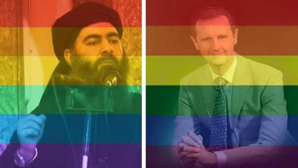 Images of ISIS leader Abu Bakr al-Baghdadi (L) and Syrian President Bashar al-Assad have been given the rainbow flag treatment. (Facebook)