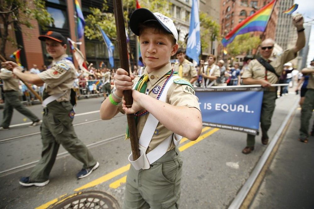 Gabriel Anderson marches with Scouts for Equality during the 45th annual San Francisco Gay Pride parade Sunday, June 28, 2015, in San Francisco. (AP Photo/ Tony Avelar)