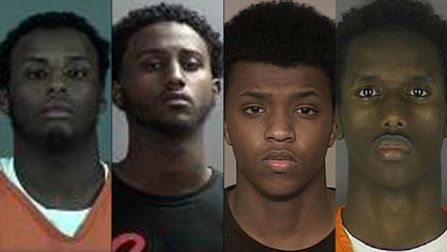 Wanting to die: From left Adnan Abdihamid Farah, Hanad Mustafe Musse, Zacharia Yusuf Abdurahman and Guled Ali Omar were Somali-Americans from Minnesota arrested on terrorism charge.
