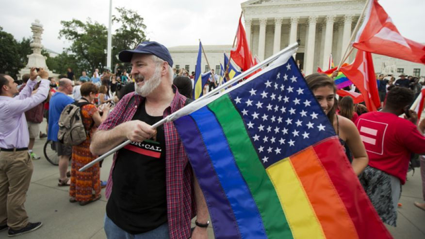 June 26, 2015: Supporters celebrate outside the U.S. Supreme Court in Washington after the court declared that same-sex couples have a right to marry anywhere in the United States. (AP Photo/Manuel Balce Ceneta)