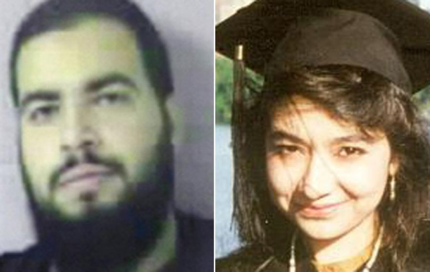 "Tarek Mehanna, (l.), and Aafia Siddiqui, aka ""Lady Al Qaeda,"" are both former worshipers at the mosques, and now federal inmates serving sentences for terrorism convictions. (Sudbury Police, Reuters)"