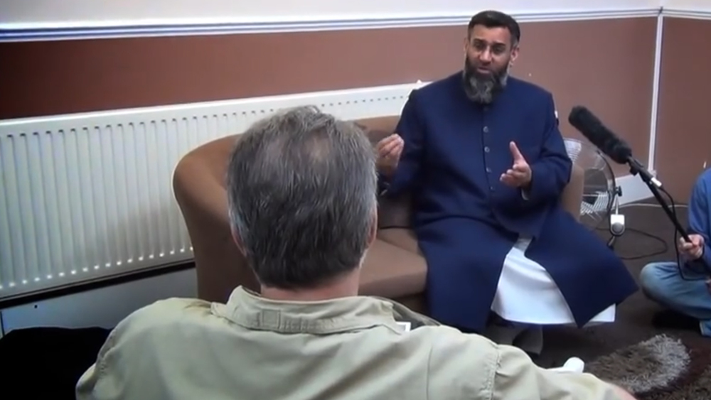 Anjem Choudary, right, is interviewed by Martin Mawyer for Europe's Last Stand.