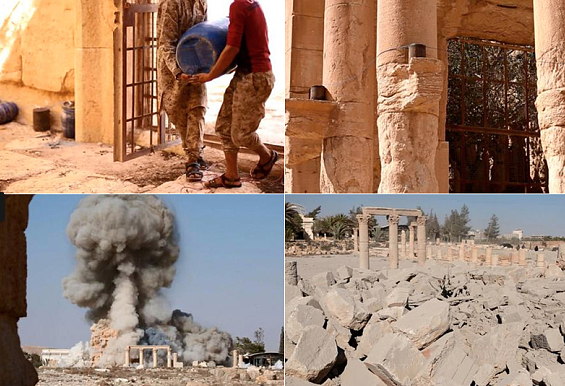 A collage of images shows the planned destruction of the Temple of Baalshamin, which dated to 17 A.D.