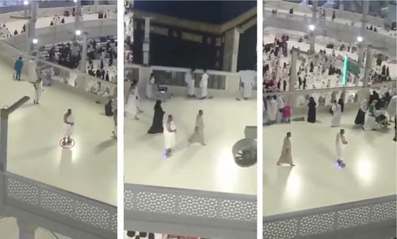 Images from a video show a pilgrim gliding in comfort around the Kaaba on a Segway scooter.