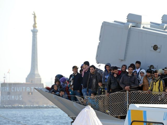 A shipload of Middle Eastern migrants arrive in Italy recently.