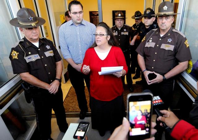 Kim Davis addresses the media just before the doors are opened to the Rowan County Clerk's Office in Morehead, Ky., on Sept. 14.