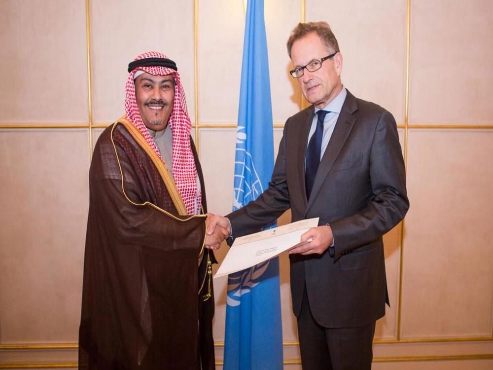H.E. Mr. Faisal bin Hassan Trad, the Kingdom of Saudi Arabia, presents his credentials to Mr. Michael Møller, the Acting Director-General of the United Nations Office at Geneva, last year
