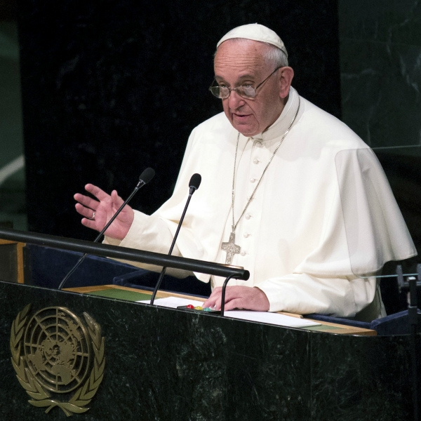 Pope Francis speaks recently at the U.N.
