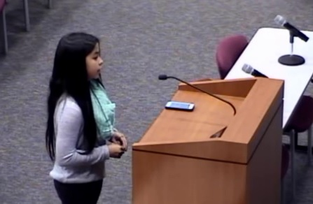 Seventh-grade student Jordan Wooley speaks to the school board in Katy, Texas, recently.