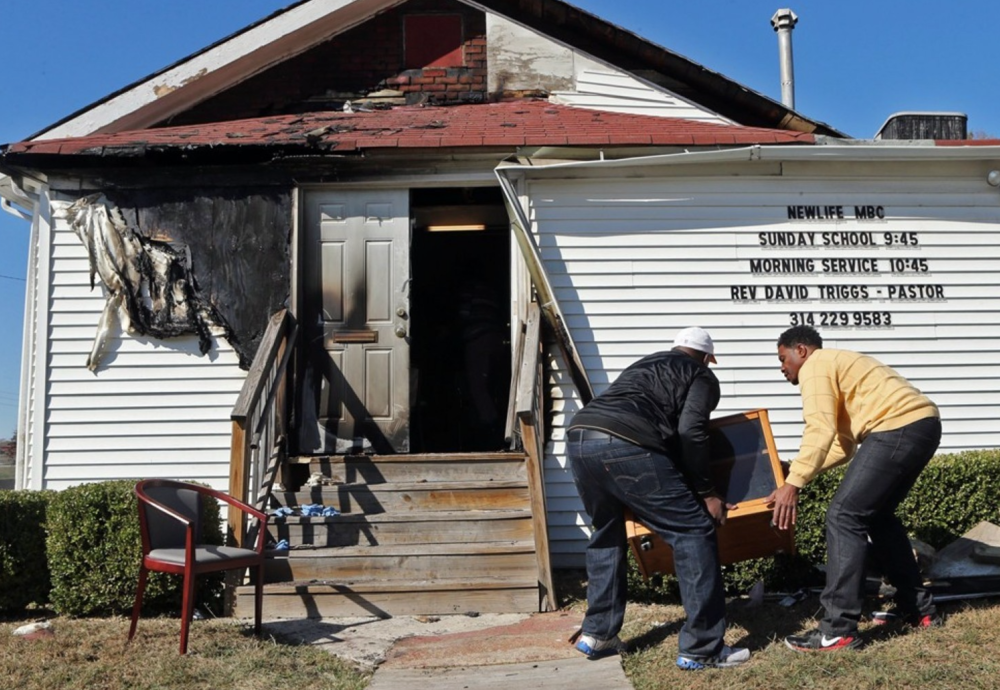 One of the churches hit by an arsonist was the New Life Missionary Baptist Church in St. Louis.